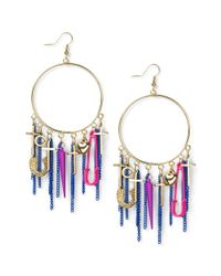 Material Girl - Metallic Goldtone Colorful Charm Hoop Earrings - Lyst
