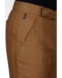 Armani - Brown Linen Pants with Belted Waist for Men - Lyst