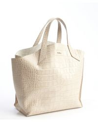 Furla - Gray Pale Grey Croc Embossed Leather Jucca Shopper Tote - Lyst