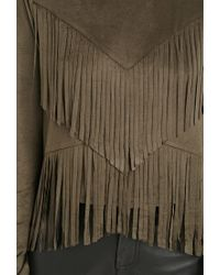 Forever 21 | Natural Faux Suede Fringe Top | Lyst
