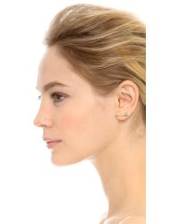 Sehti Na | Metallic White Sapphire Bar Earring - Clear/gold | Lyst