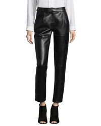 Bagatelle - Black Leather Pleated Trousers - Lyst