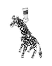 Aeravida | Metallic Unique Moveable 3d Giraffe .925 Sterling Silver Pendant | Lyst