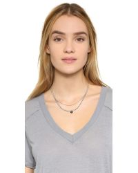 Chan Luu | Metallic Delicate Double Layer Necklace - Black Mix | Lyst