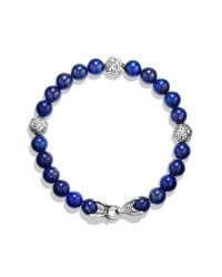 David Yurman | Metallic Spiritual Beads Bracelet with Lapis for Men | Lyst