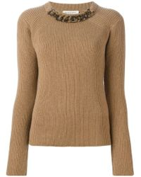 Burberry - Brown Chain Trimmed Neck Sweater - Lyst
