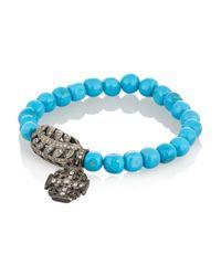 Loree Rodkin | Blue Turquoise 18karat Rhodium White Gold and Diamond Bracelet | Lyst