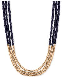 Lucky Brand - Black Two-tone Three Strand Beaded Necklace - Lyst
