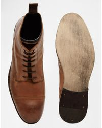 ASOS - Brown Lace Up Boots In Tan Leather With Toe Cap for Men - Lyst