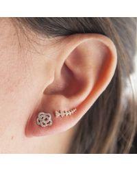 Anne Sisteron - 14kt White Gold Diamond Camellia Flower Stud Earrings - Lyst
