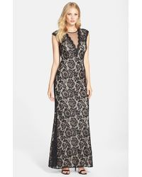Betsy & Adam | Black Illusion V-neck Lace Trumpet Gown | Lyst