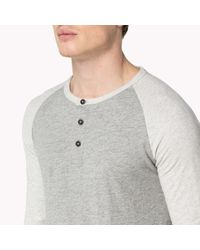 Tommy Hilfiger | Gray Cotton Long Sleeve Henley for Men | Lyst