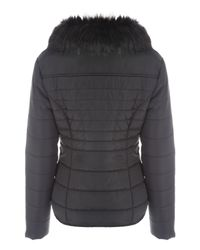 Jane Norman | Black Fur Collar Short Padded Coat | Lyst