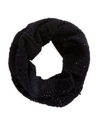 Lauren by Ralph Lauren | Black Embellished Knit Infiniti Scarf | Lyst