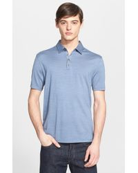 John Varvatos | Blue 'Hampton' Silk & Cotton Polo for Men | Lyst