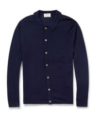 Acne Studios - Blue Clissold Buttoned Knitted Wool Polo Shirt for Men - Lyst