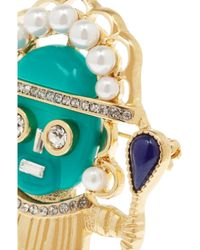 Kenneth Jay Lane - Green Goldplated Faux Pearl and Crystal Brooch - Lyst