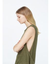Mango - Natural Strap Linen Top - Lyst