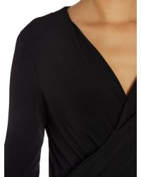 Ellen Tracy | Black 3/4 Sleeve Wrap Top | Lyst