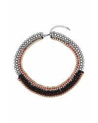 TOPSHOP - Red Rhinestone Link Chain Collar - Lyst