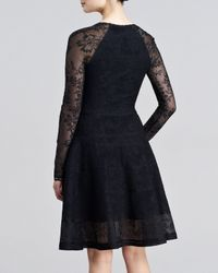 Zac Posen - Black Longsleeve Lacejacquard Flounce Dress Small - Lyst