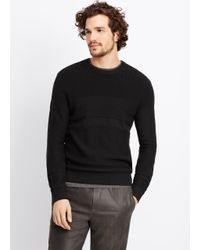 Vince - Black Multi Stitch Crew Neck Sweater for Men - Lyst