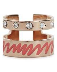 MFP MariaFrancescaPepe | Pink 23Kt Rose Gold Plated Swarovski Ring | Lyst