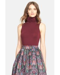 Alice + Olivia - Red 'Farley' Sleeveless Turtleneck Sweater - Lyst