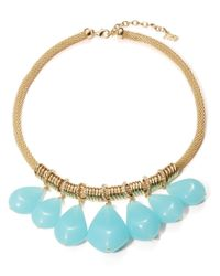 ABS By Allen Schwartz | Blue Gold-tone And Aqua Stone Frontal Necklace | Lyst