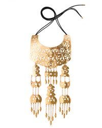 Natori | Metallic Hammered Gold Multi Crown Necklace | Lyst