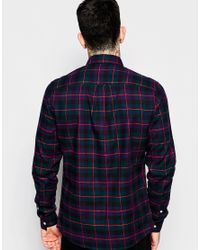 ASOS - Blue Shirt With Grid Check In Long Sleeves for Men - Lyst