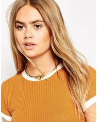 ASOS | Metallic Simple Shapes Torque Necklace | Lyst