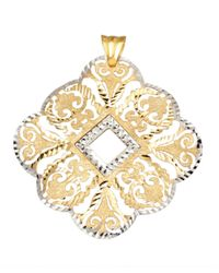 Lord & Taylor | Metallic 14 Kt. Yellow And White Gold Filigree Pendant | Lyst