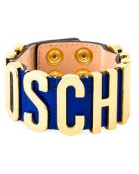 Moschino | Blue Logo Plaque Bracelet | Lyst