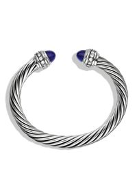 David Yurman | Metallic Cable Classics Bracelet With Lapis Lazuli & Diamonds | Lyst