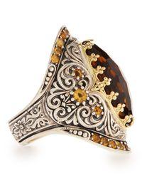 Konstantino | Metallic Sterling Silver Cognac Quartz & Citrine Ring With 18 Karat Gold | Lyst