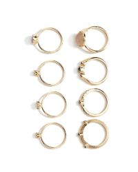 Forever 21 | Metallic Faux Gemstone Ring Set | Lyst