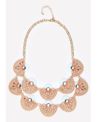 Bebe | Multicolor Tiered Crystal Fan Necklace | Lyst