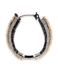 Venna | Metallic Crystal Pavé Strass Spike Collar Necklace | Lyst