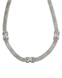 Lord & Taylor - Metallic Sterling Silver Cage Necklace With Diamonds - Lyst
