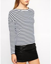 ASOS - Blue Tall Long Sleeve Stripe Top - Lyst