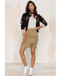 Nasty Gal - Natural Stella Denim Pencil Skirt - G.i. - Lyst