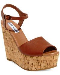 Steve Madden | Brown Women's Korkey Two-piece Platform Wedge Sandals | Lyst