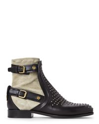 Chloé | Black Chlo㉠Double Buckle Studded Ankle Boots | Lyst