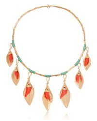 Aurelie Bidermann - Metallic Monterosso Leaves Necklace - Lyst