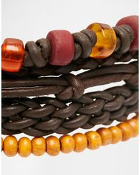 ASOS - Brown Beaded Necklace And Leather Bracelet Pack for Men - Lyst