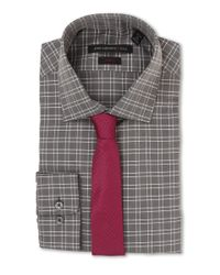 John Varvatos - Gray Slim Fit Check Dress Shirt for Men - Lyst