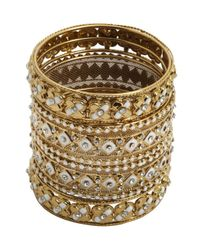 Chamak by Priya Kakkar | Metallic Set Of 4 - Gold And White Bangles | Lyst