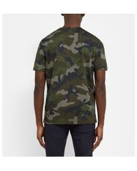 Valentino - Green Camouflage-Print Cotton-Jersey T-Shirt for Men - Lyst