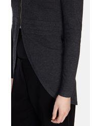 Karen Millen - Gray Zip Front Longline Cardigan - Lyst